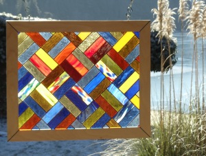 autum colours quilted glass