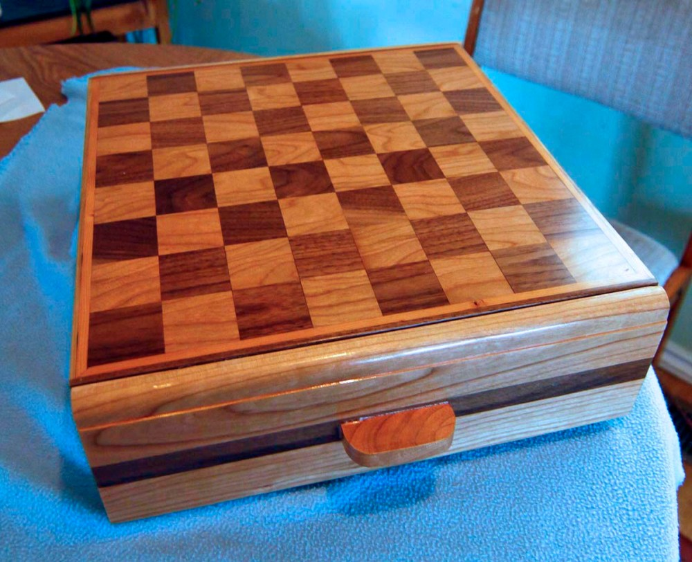 Cherry and Black Walnut chess board with drawers