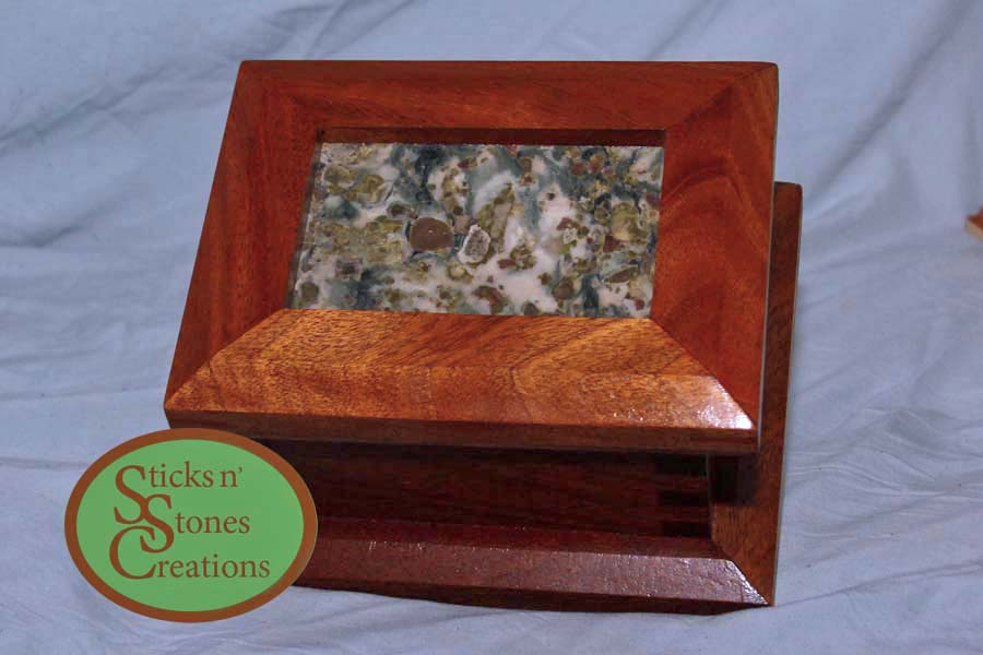 Mahogany box wiith stone insert in the lid