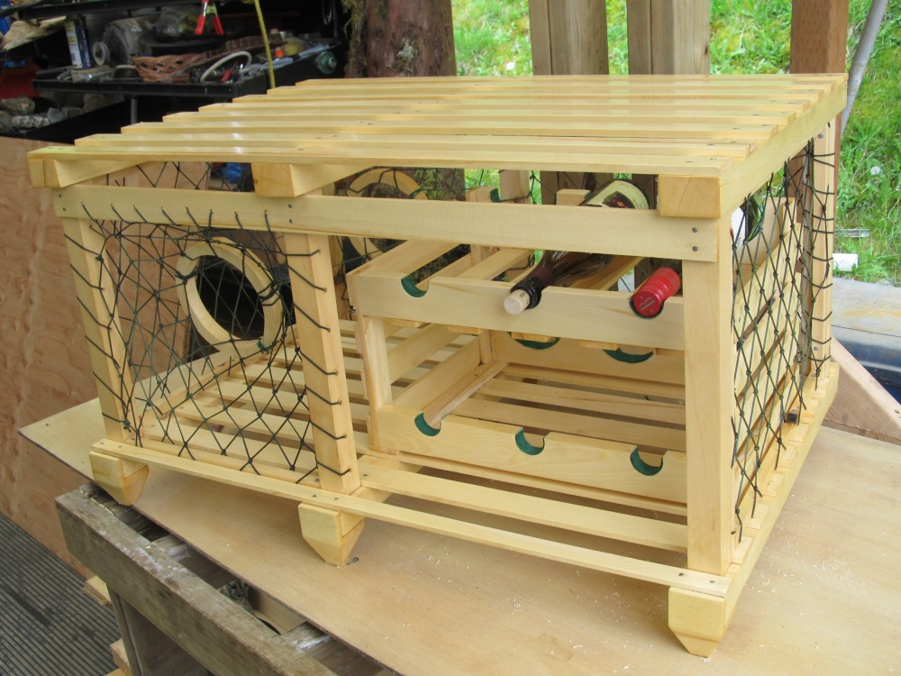 Yellow cedar trap coffee table with wine rack